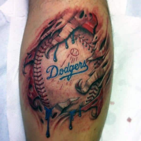 Mens Dodgers Tattoo Ideas Leg Calf With Ripped Skin Design