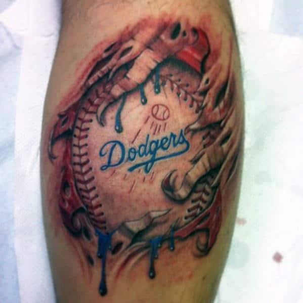 Mens Dodgers Tattoo Ideas Leg Calf With Ripped Skin Design