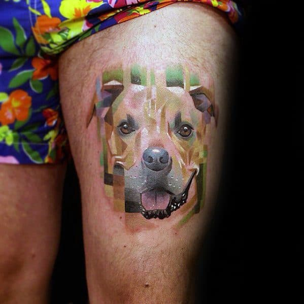 Mens Dog Head Pixel Tattoo On Thigh With Watercolor Design