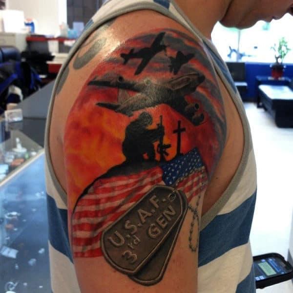 Mens Dog Tag Tattoo On Upper Arm