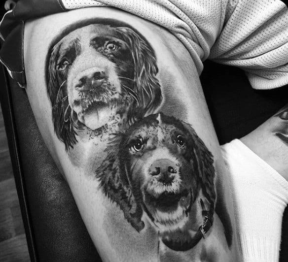 Mens Dog Tattoos On Thigh Shaded Black Ink