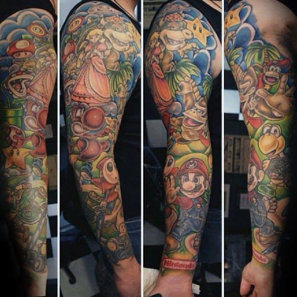 Mens Donkey Kong Tattoo Design Inspiration Full Arm Sleeve
