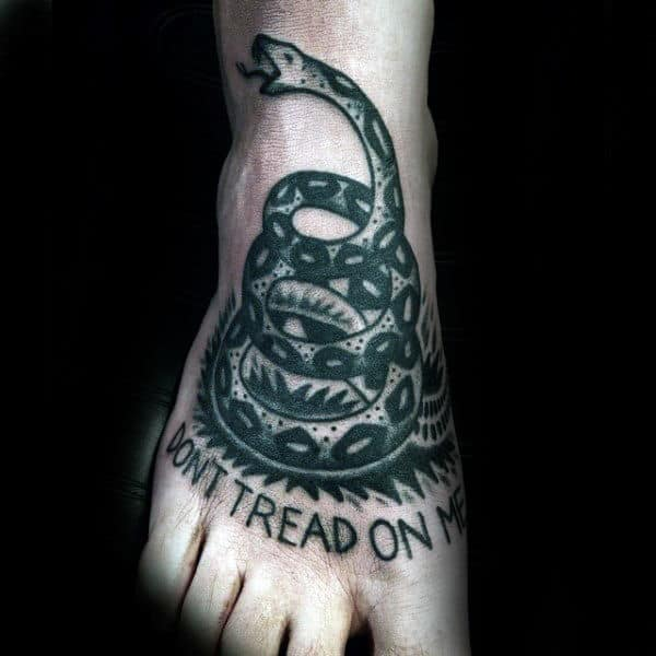 Mens Dont Tread On Me Rattlesnake Foot Tattoos