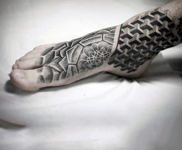 Mens Dotted Grey Foot Tattoo Design