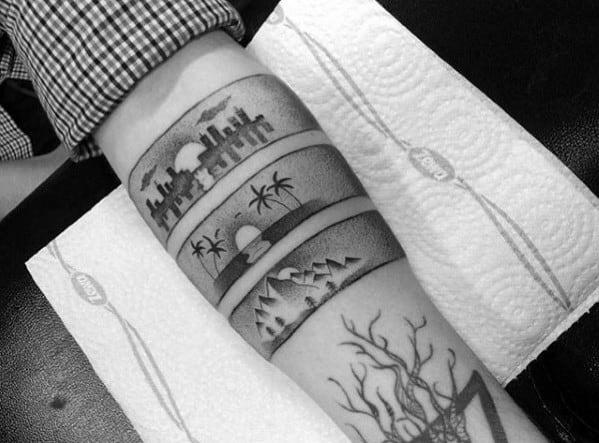 Mens Dotwork Armband Skyline Tattoo