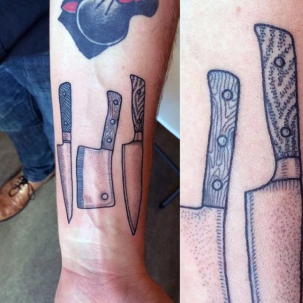 Mens Dotwork Chef Knife Wrist Tattoos
