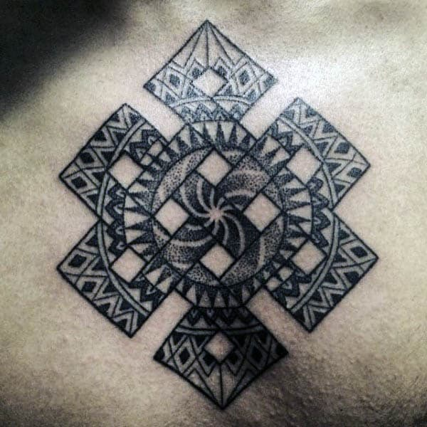 Mens Dotwork Endless Knot Symbol Tattoo On Chest