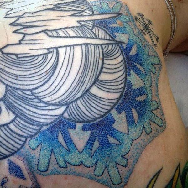 Mens Dotwork Full Back Snowflake Blue Ink Tattoos