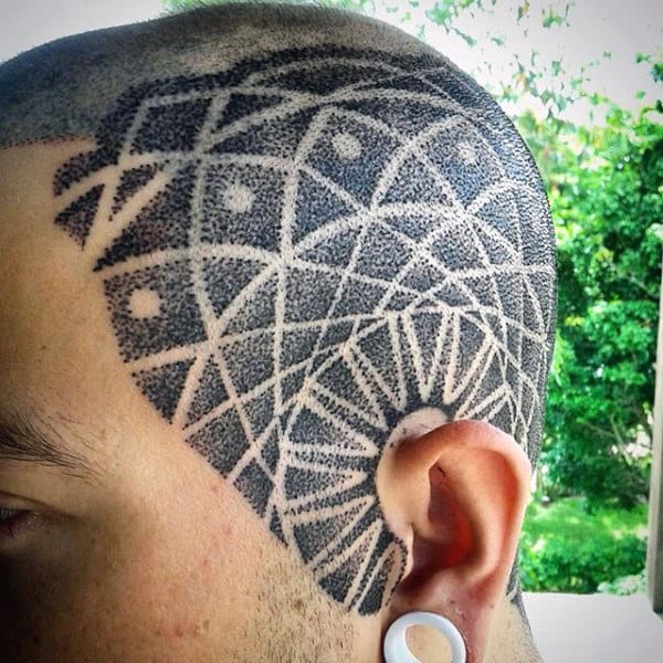 Mens Dotwork Geometic Head Tattoo Design Ideas