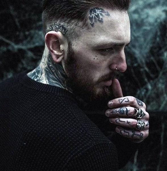 Mens Dotwork Geometric Flower Face Tattoo Ideas