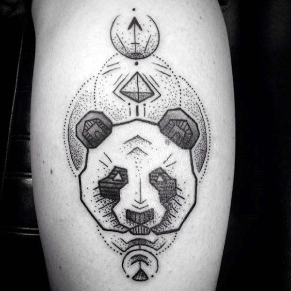 Mens Dotwork Geometrical Panda Face Tattoo On Arm