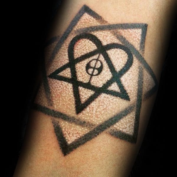 Mens Dotwork Heartagram Tattoo On Inner Forearm With White And Black Ink