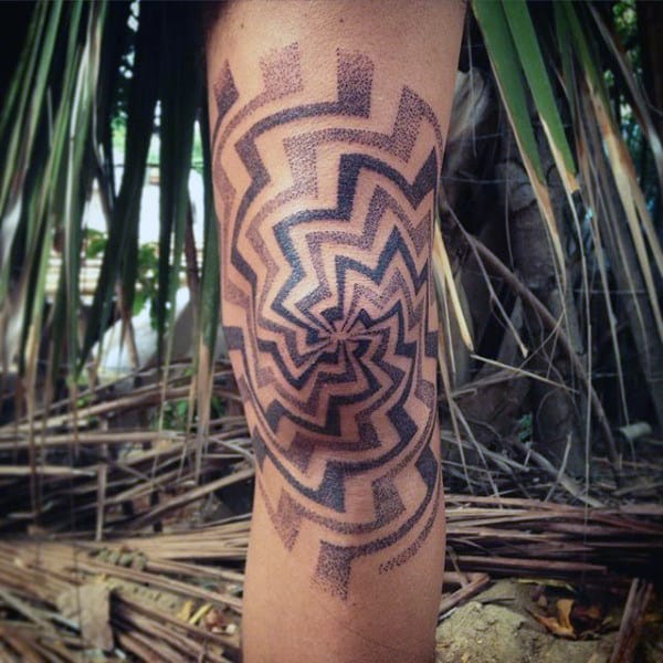 Mens Dotwork Knee Spiral Geometric Pattern Tattoo
