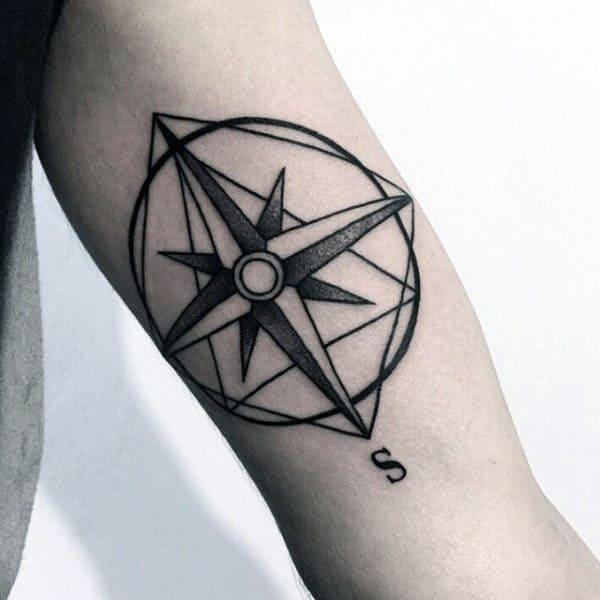 Mens Dotwork Minimalist Nautical Star Compass Tattoo On Inner Arm