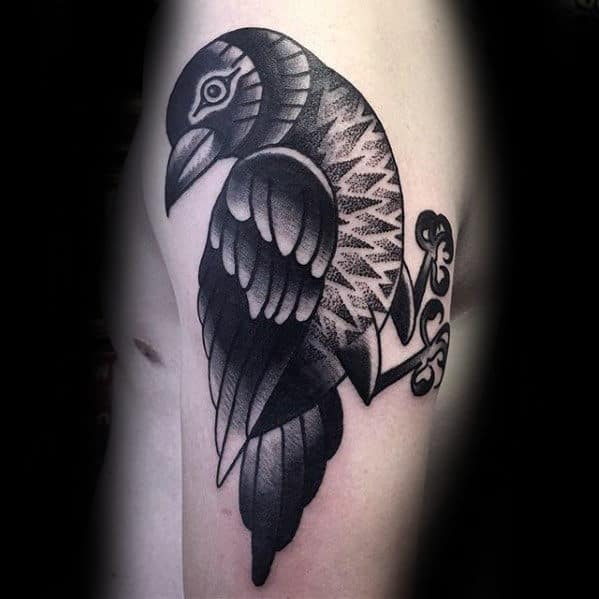 Mens Dotwork Modern And Old School Traditional Crow Arm Tattoo