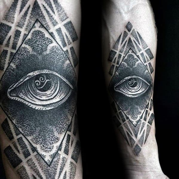 Mens Dotwork Negative Space Geometric Eye Of Providence Forearm Tattoo