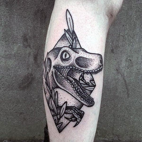 Mens Dotwork Velociraptor Leg Tattoo Design