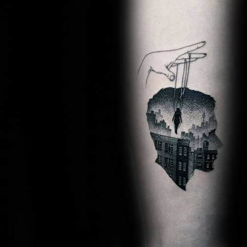 Mens Double Exposure Tattoo Design Inspiration