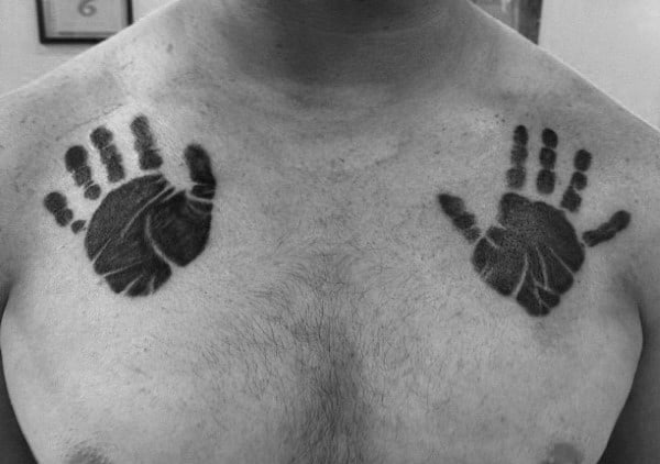 Mens Double Handprints Chest Tattoo