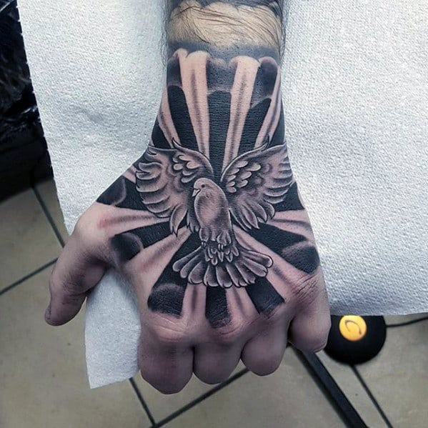 Mens Dove Flying With Sun Rays Unique Hand Tattoo