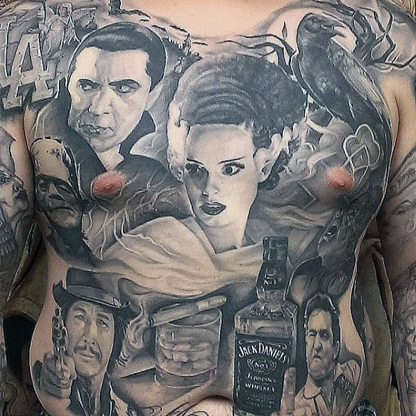 Mens Dracula Themed Full Chest Chicano Tattoo Deisgns