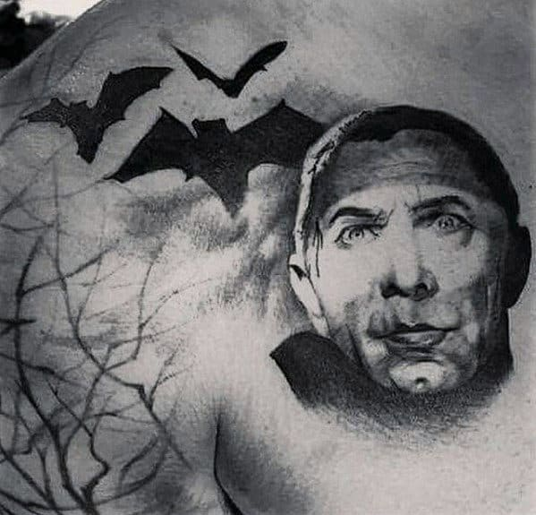 Mens Dracula With Black Bats Upper Chest Tattoos