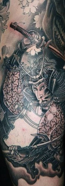 Men's Dragon And Samurai Tattoo