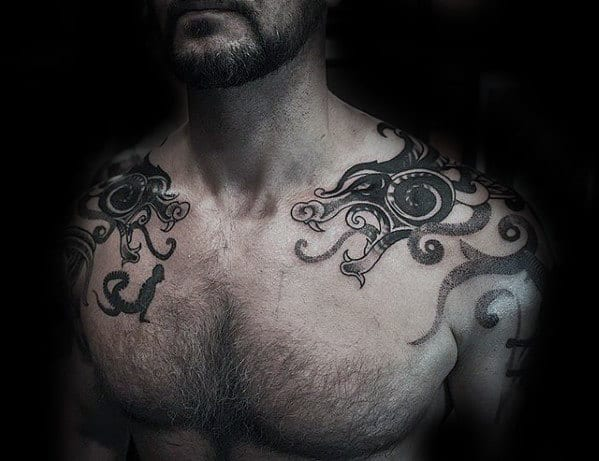 Mens Dragon Celtic Tribal Shoulder Tattoos