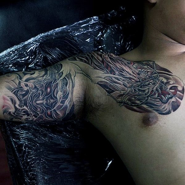 Mens Dragon Shaded Shoulder Tattoo