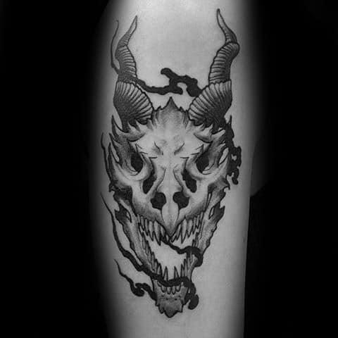 Mens Dragon Skull Tattoo Design Inspiration