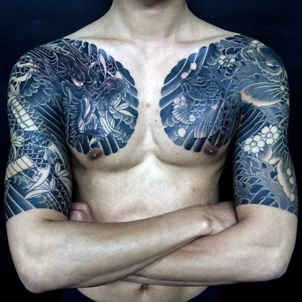 Men's Dragon Sleeve Tattoo