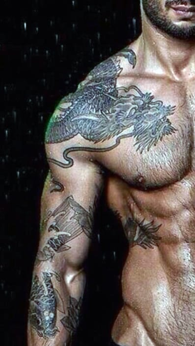 Men's Dragon Wing Tattoo