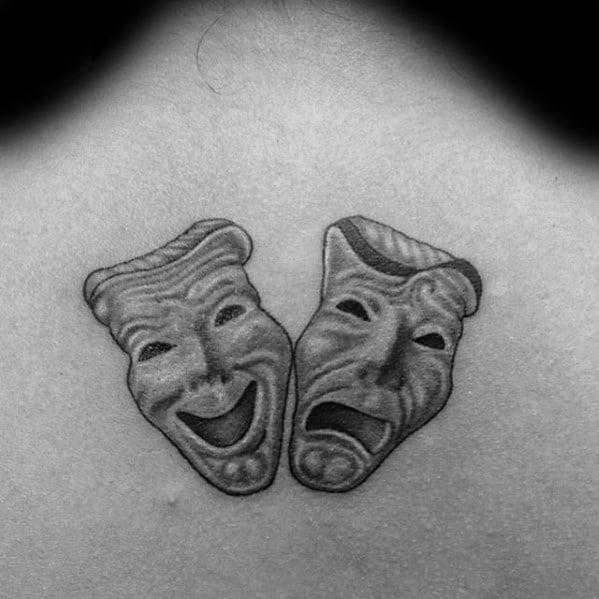 Mens Drama Mask Tattoo Design Ideas 3d Upper Back