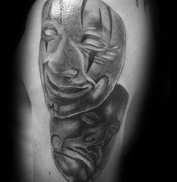 Mens Drama Mask Tattoo Design Inspiration 3d Arms