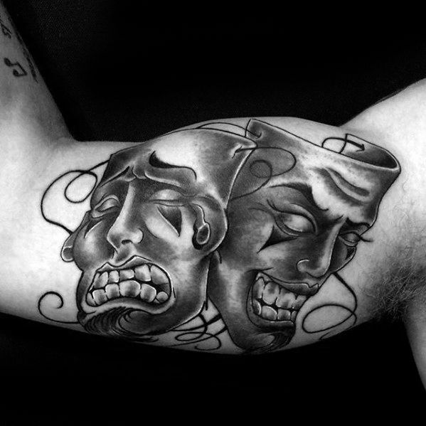 Mens Drama Mask Tattoo Ideas Inner Arm Bicep