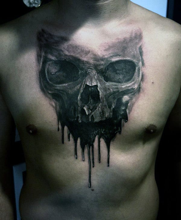 Mens Dripping Skull Watercolor Chest Tattoo Ideas