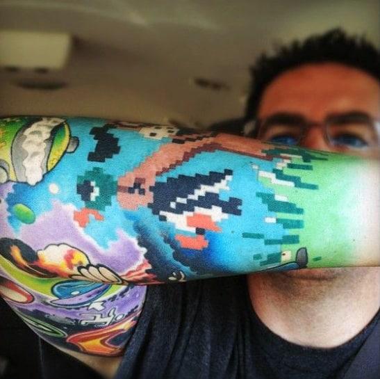 Mens Duck Hunt 8 Bit Full Arm Sleeve Tattoo Designs