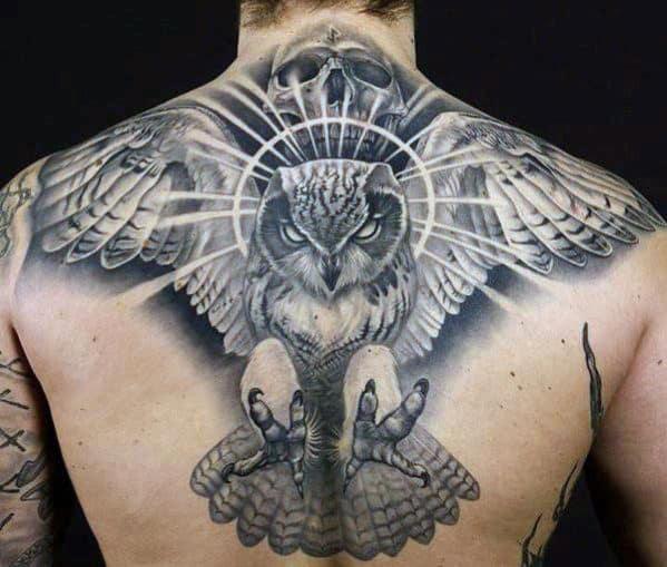 Men's Eagle And Skull Back Tattoos