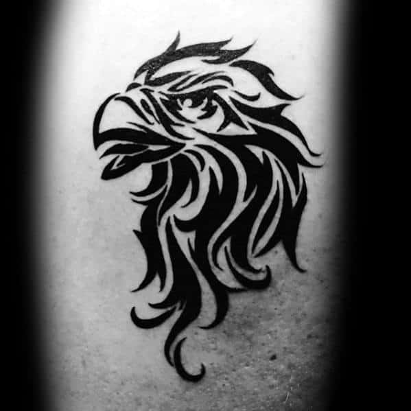 Mens Eagle Head Tribal Tattoo Of Bird On Back