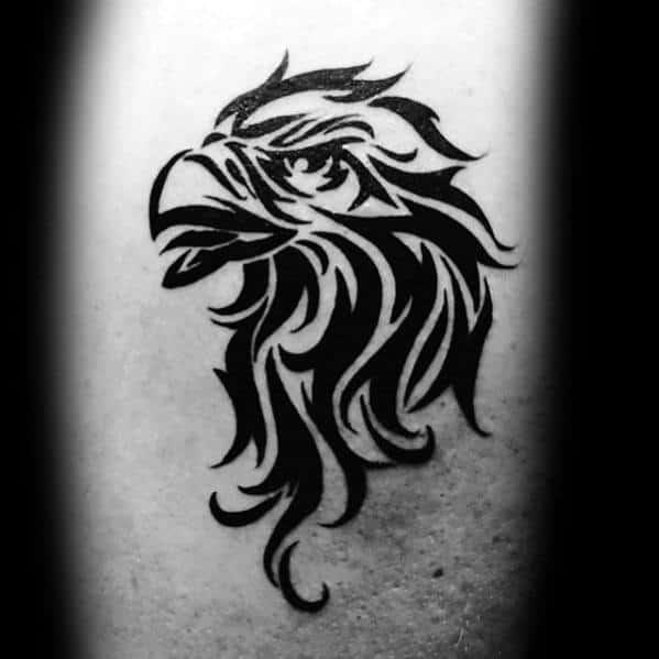 Mens Eagle Head Tribal Tattoo Of Bird On Back