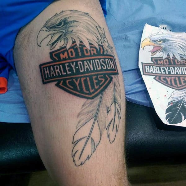Mens Eagle Thigh Harley Davidson Motorcycle Tattoos
