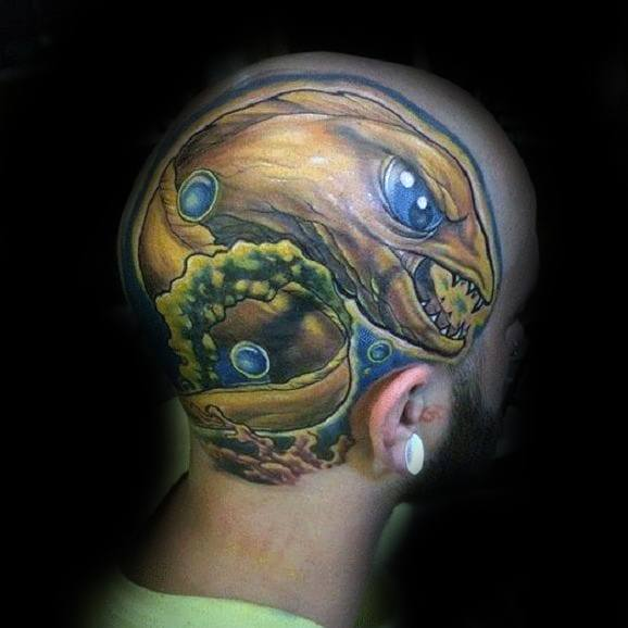 Mens Eel Tattoo With New School Design On Head