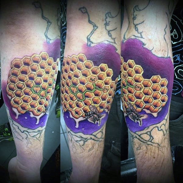 Mens Elbow Chemical Elements Honeycomb Tattoo With Purple Backdrop