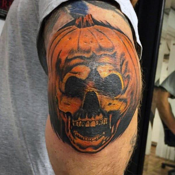 Mens Elbow Pumpkin Skull Tattoo