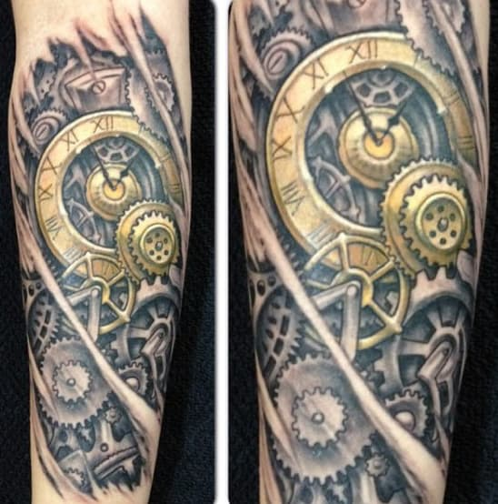 Mens Elbows Steampunk Tattoo With Golden Clock