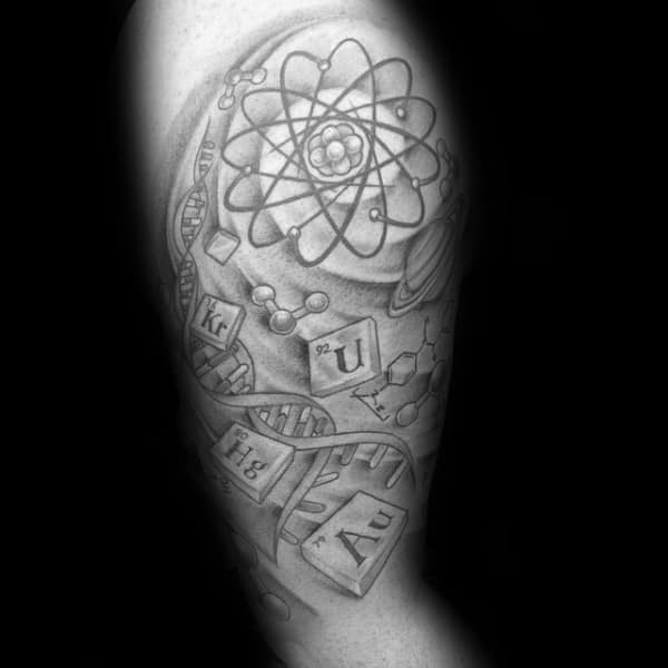 Mens Elements With Atom And Dna Helix Chemistry Upper Arm Tattoos