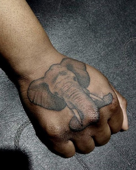 Mens Elephant Head Tattoo On Hands