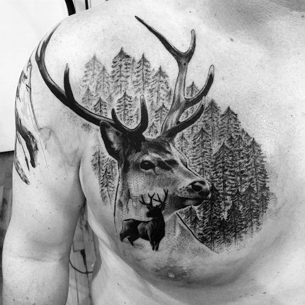 Mens Elk Forest Woods Upper Chest Tattoo Ideas