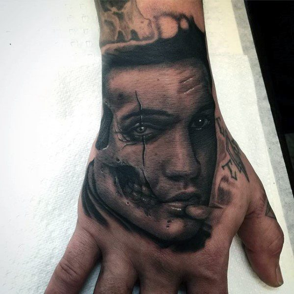 Mens Elvis Presley Tattoo On Hand