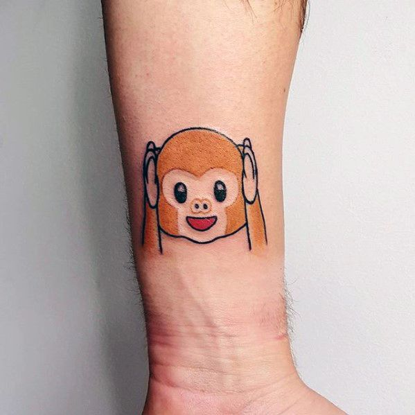 Mens Emoji Moneyk Inner Forearm Tattoo Design Inspiration